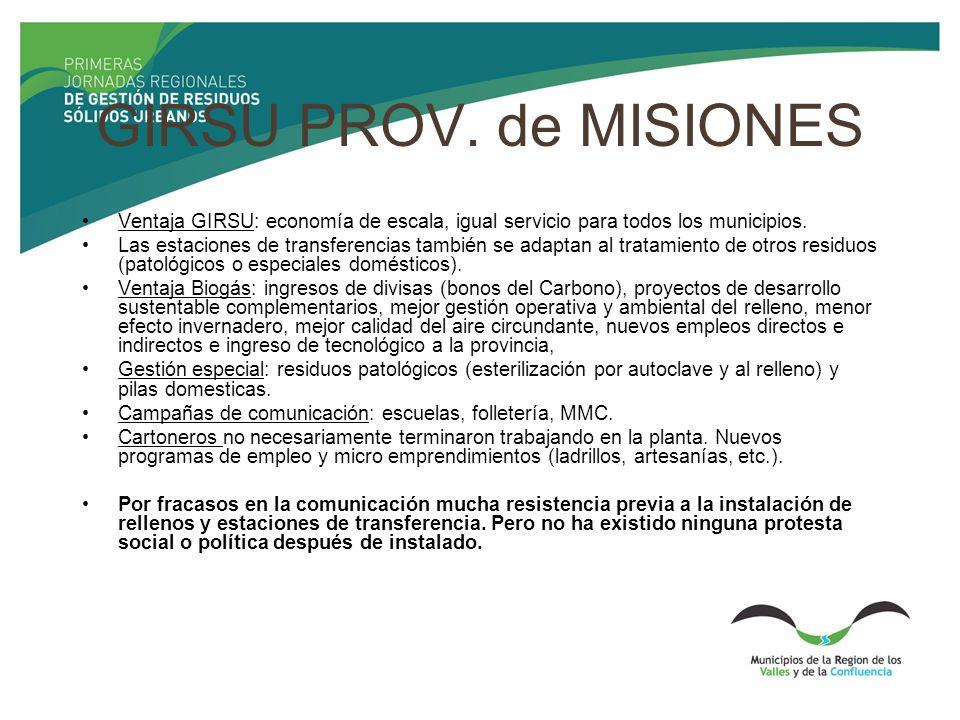 GIRSU PROV. de MISIONES Ventaja GIRSU: economía de escala, igual servicio para todos los municipios.
