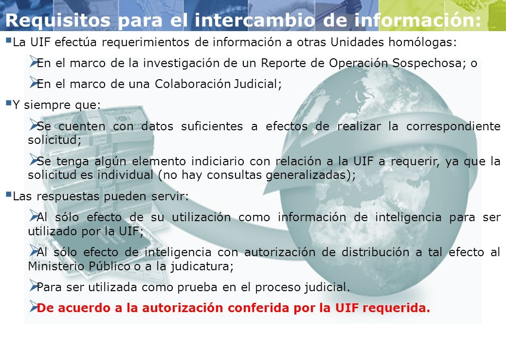 Requisitos para el intercambio de información: