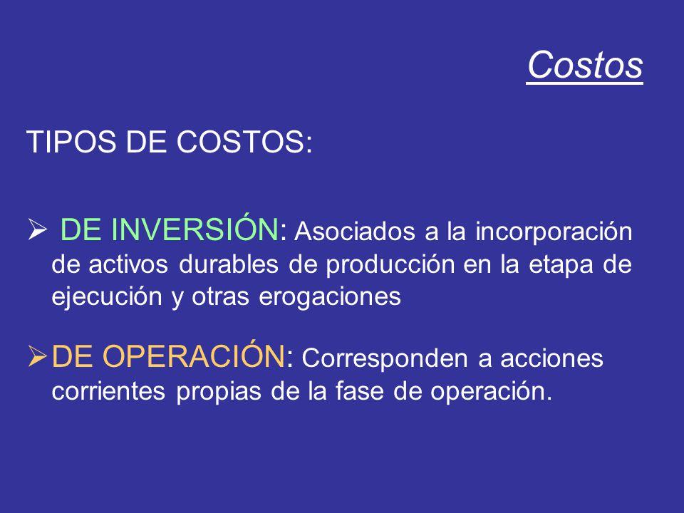 Costos TIPOS DE COSTOS: