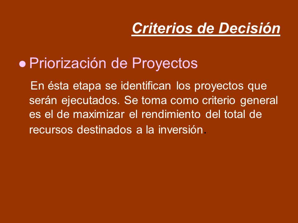 Criterios de Decisión Priorización de Proyectos.