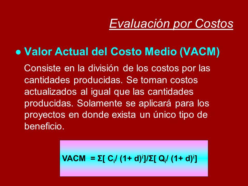 Evaluación por Costos Valor Actual del Costo Medio (VACM)