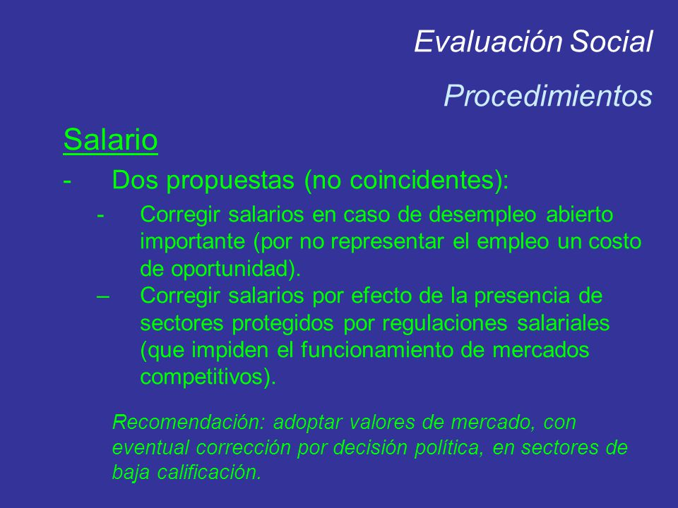 Evaluación Social Procedimientos Salario