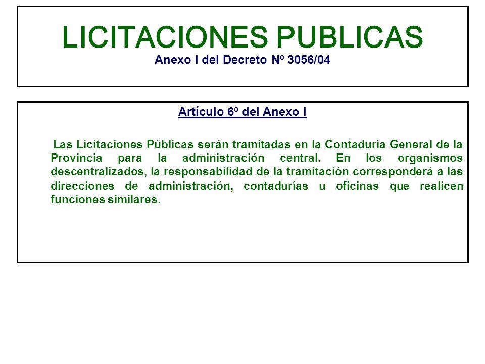 LICITACIONES PUBLICAS Anexo I del Decreto Nº 3056/04