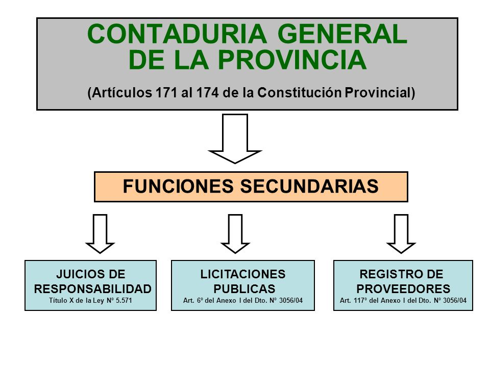 CONTADURIA GENERAL DE LA PROVINCIA (Artículos 171 al 174 de la Constitución Provincial)