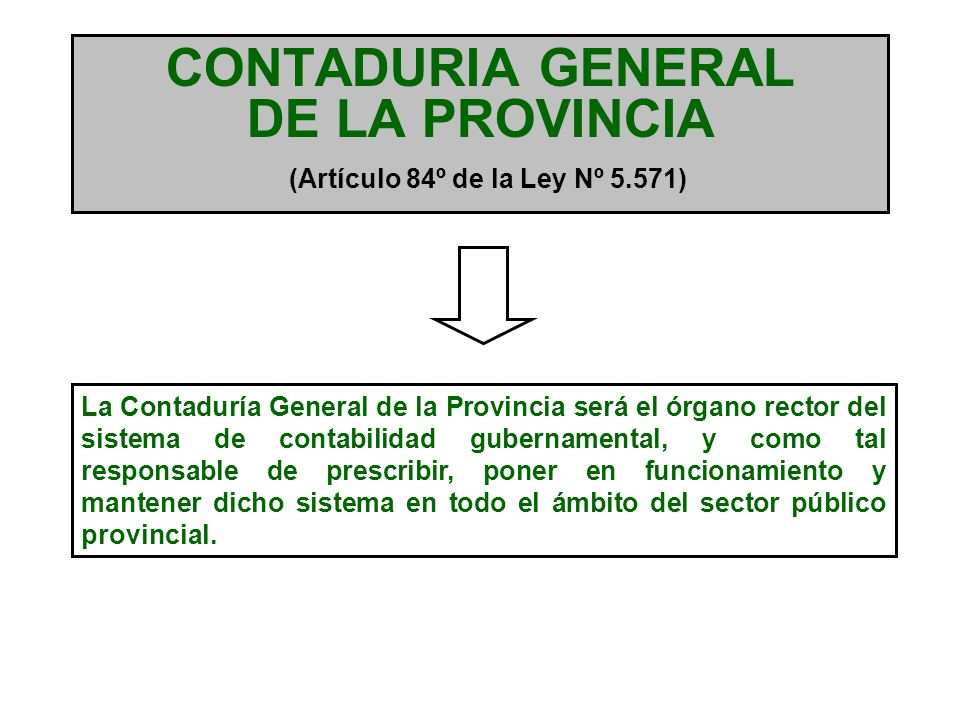 CONTADURIA GENERAL DE LA PROVINCIA (Artículo 84º de la Ley Nº 5.571)