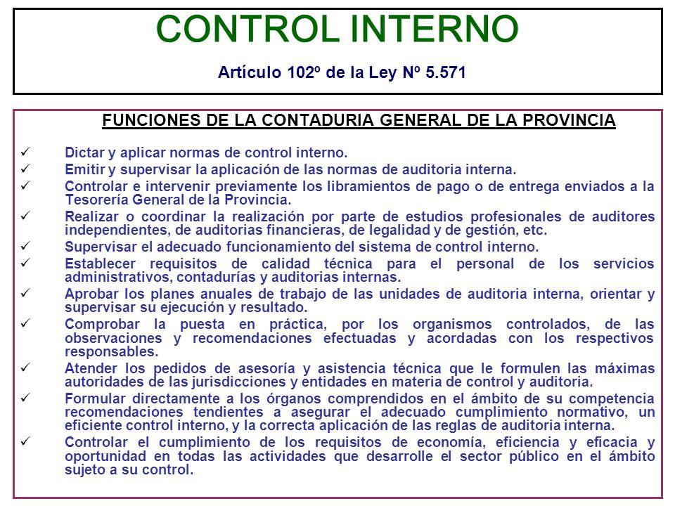 CONTROL INTERNO Artículo 102º de la Ley Nº 5.571