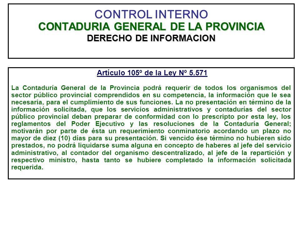 CONTROL INTERNO CONTADURIA GENERAL DE LA PROVINCIA DERECHO DE INFORMACION