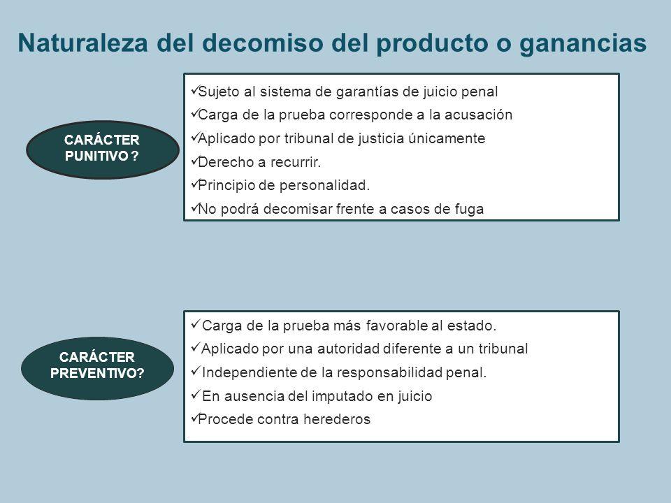 Naturaleza del decomiso del producto o ganancias