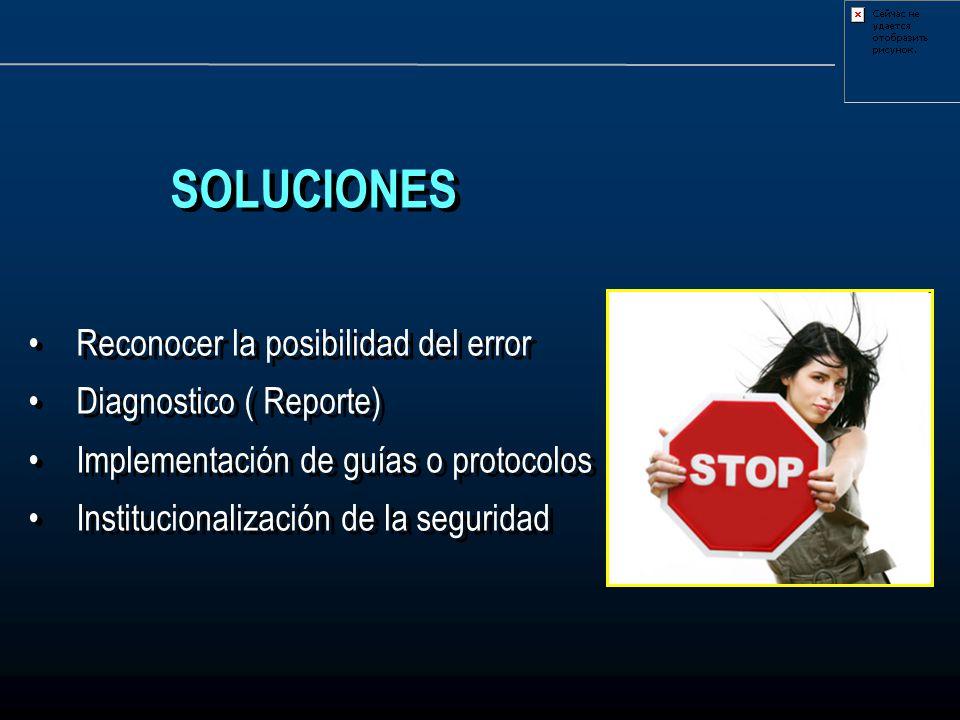 SOLUCIONES Reconocer la posibilidad del error Diagnostico ( Reporte)