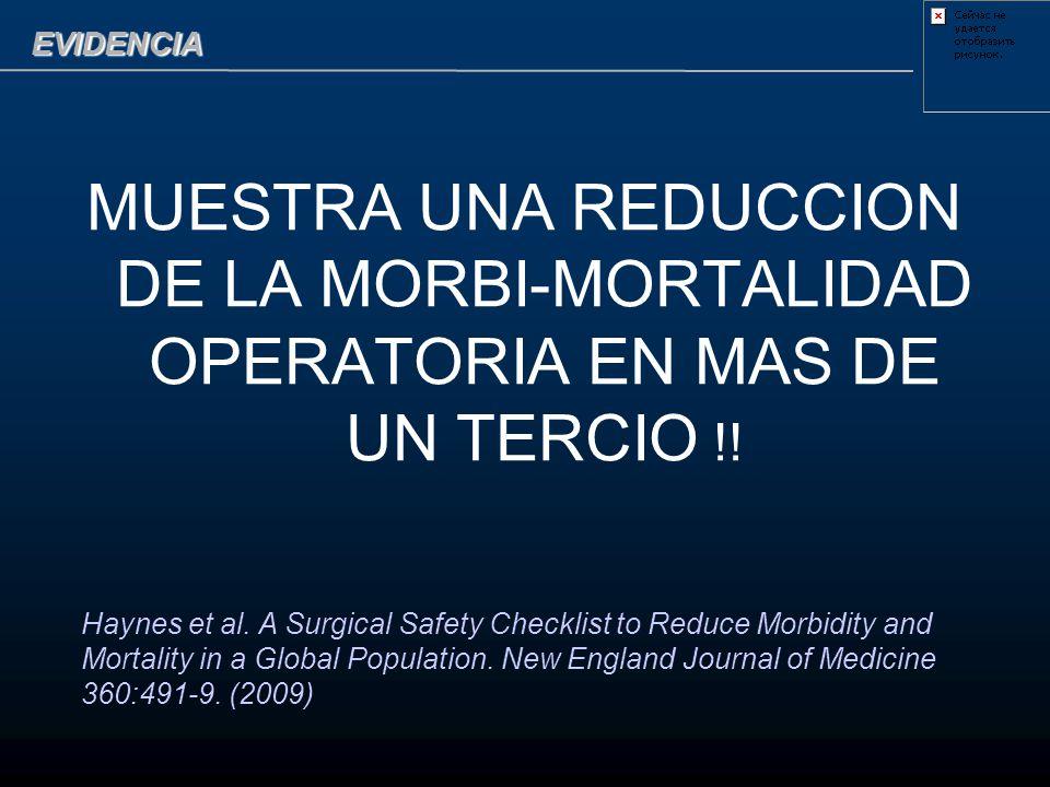 EVIDENCIA MUESTRA UNA REDUCCION DE LA MORBI-MORTALIDAD OPERATORIA EN MAS DE UN TERCIO !!
