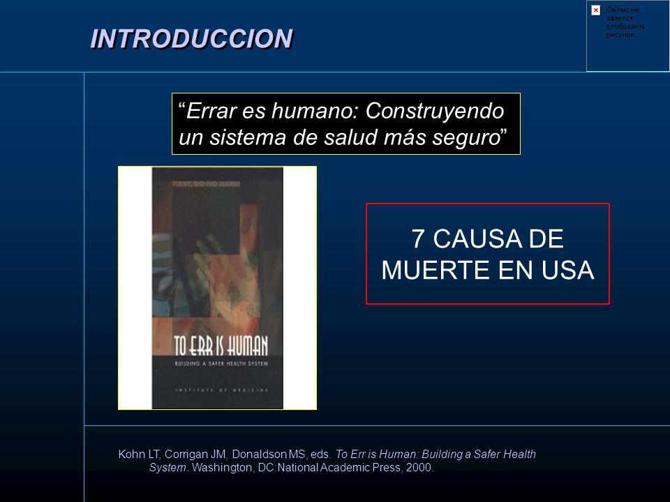 INTRODUCCION 7 CAUSA DE MUERTE EN USA Errar es humano: Construyendo