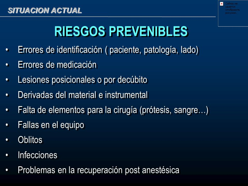 SITUACION ACTUAL RIESGOS PREVENIBLES. Errores de identificación ( paciente, patología, lado) Errores de medicación.