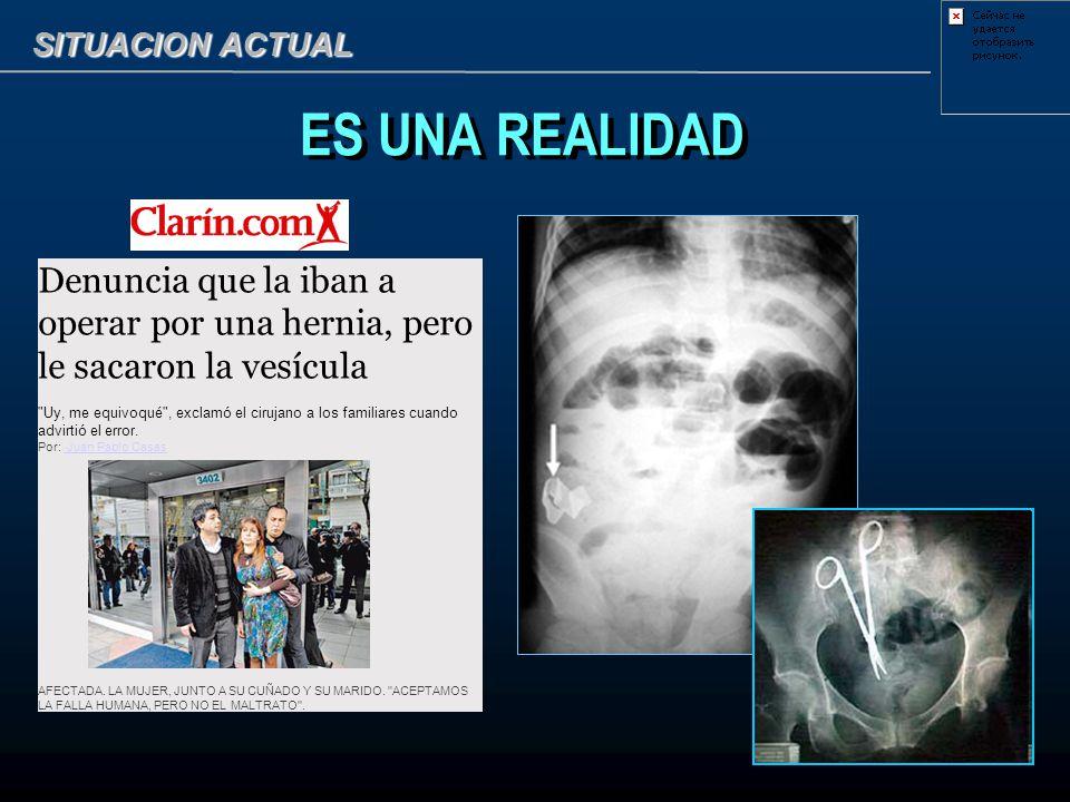 SITUACION ACTUAL ES UNA REALIDAD. Denuncia que la iban a operar por una hernia, pero le sacaron la vesícula.