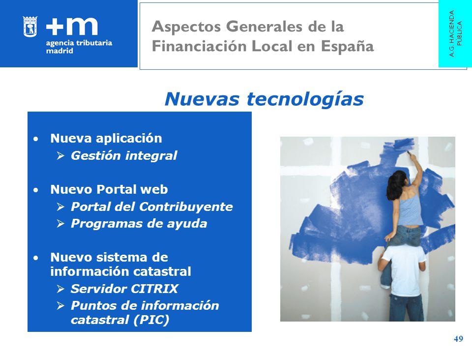 A.G. HACIENDA PÚBLICA Aspectos Generales de la Financiación Local en España. Nuevas tecnologías. Nueva aplicación.