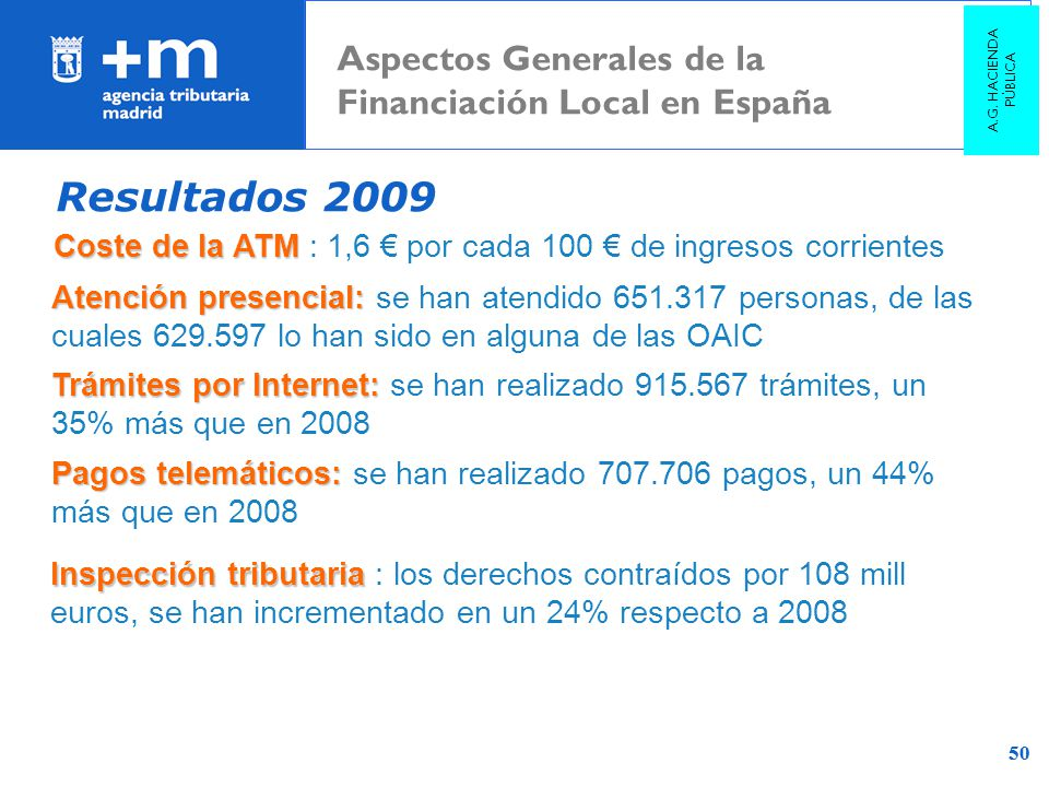 Resultados 2009 Aspectos Generales de la Financiación Local en España