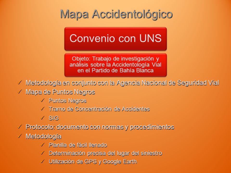 Mapa Accidentológico Convenio con UNS. Objeto: Trabajo de investigación y análisis sobre la Accidentología Vial en el Partido de Bahía Blanca.