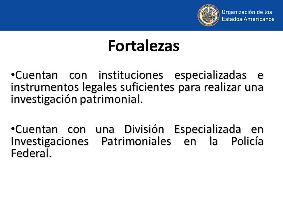 Fortalezas Cuentan con instituciones especializadas e instrumentos legales suficientes para realizar una investigación patrimonial.