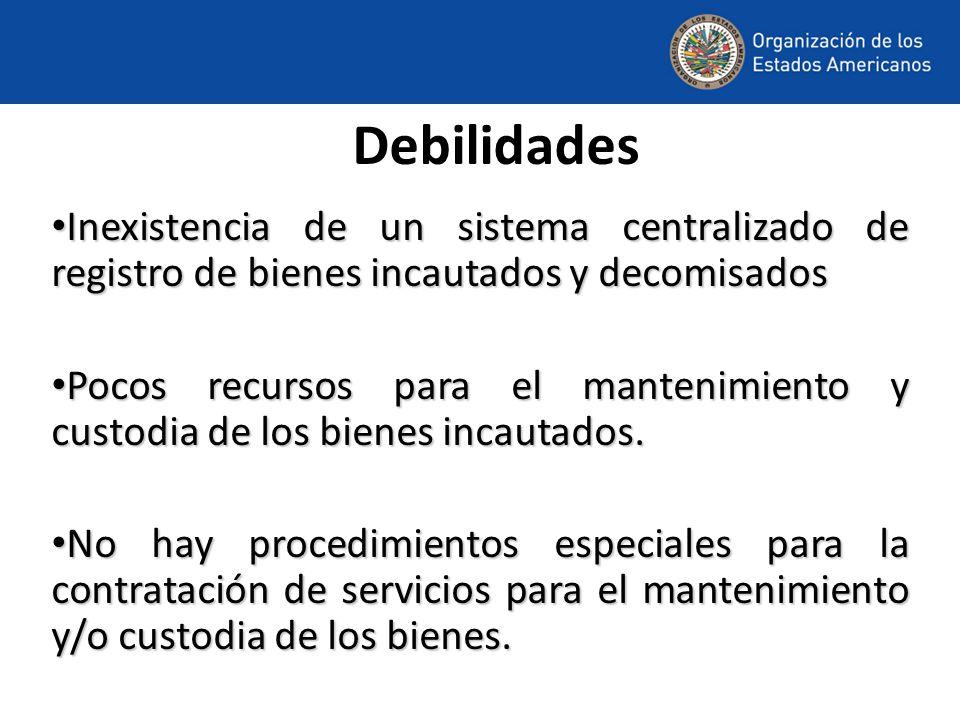Debilidades Inexistencia de un sistema centralizado de registro de bienes incautados y decomisados.
