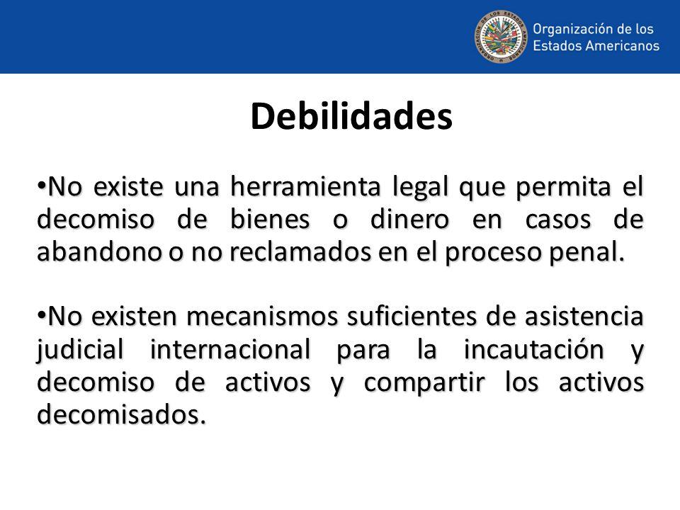 Debilidades No existe una herramienta legal que permita el decomiso de bienes o dinero en casos de abandono o no reclamados en el proceso penal.
