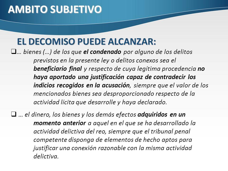 AMBITO SUBJETIVO EL DECOMISO PUEDE ALCANZAR: