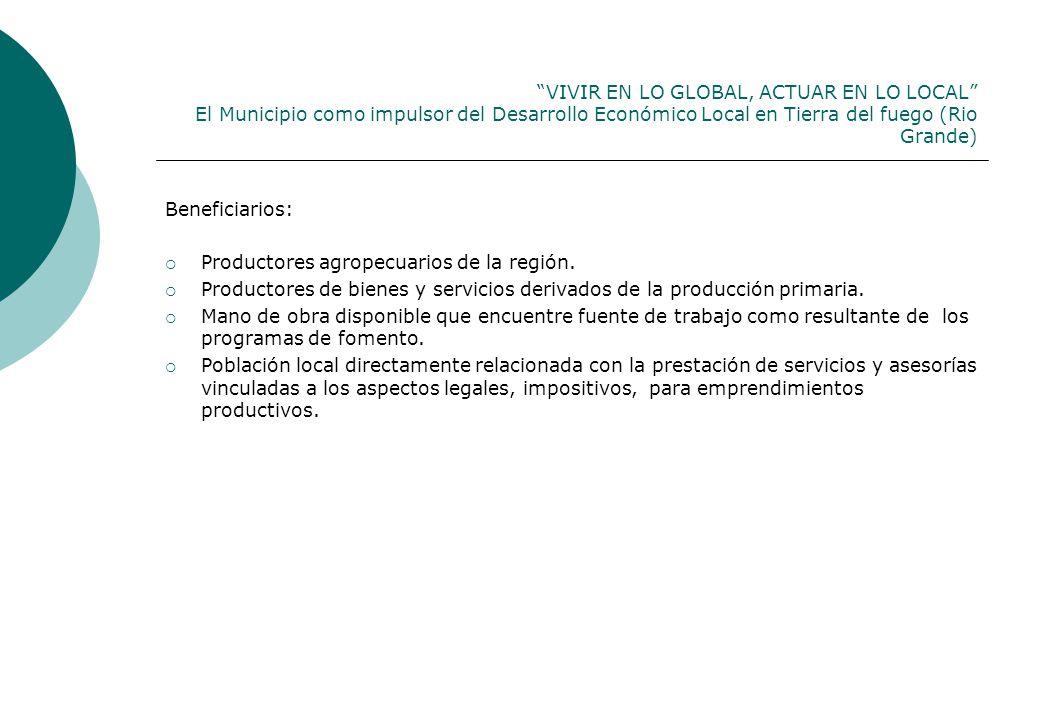 VIVIR EN LO GLOBAL, ACTUAR EN LO LOCAL El Municipio como impulsor del Desarrollo Económico Local en Tierra del fuego (Rio Grande)