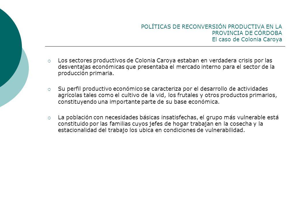 POLÍTICAS DE RECONVERSIÓN PRODUCTIVA EN LA PROVINCIA DE CÓRDOBA El caso de Colonia Caroya