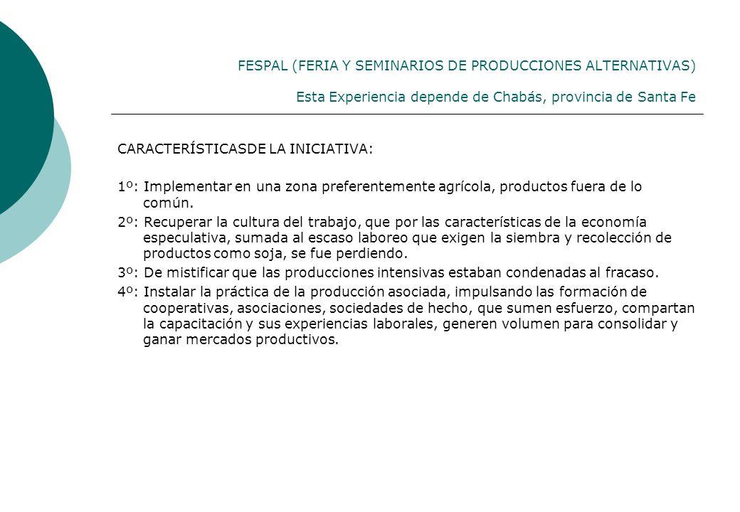 FESPAL (FERIA Y SEMINARIOS DE PRODUCCIONES ALTERNATIVAS) Esta Experiencia depende de Chabás, provincia de Santa Fe