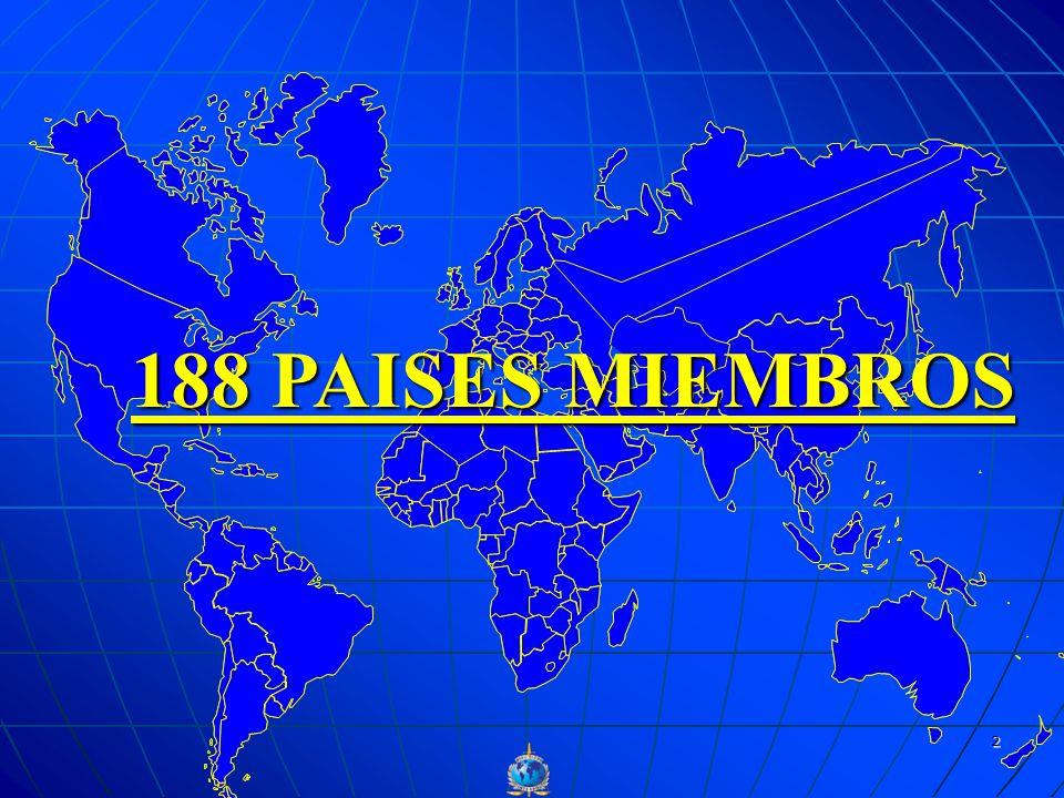 188 PAISES MIEMBROS INTERPOL SURGE COMO UNA NECESIDAD DE COOPERACION INTERNACIONAL; LOS DELINCUENTES PASABAN LAS FRONTERAS Y NO EXISTIA NINGUNA.