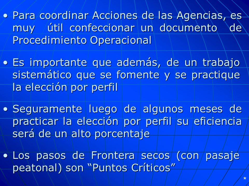 Para coordinar Acciones de las Agencias, es muy útil confeccionar un documento de Procedimiento Operacional