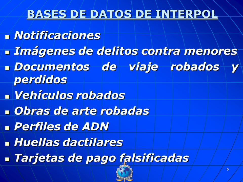 BASES DE DATOS DE INTERPOL