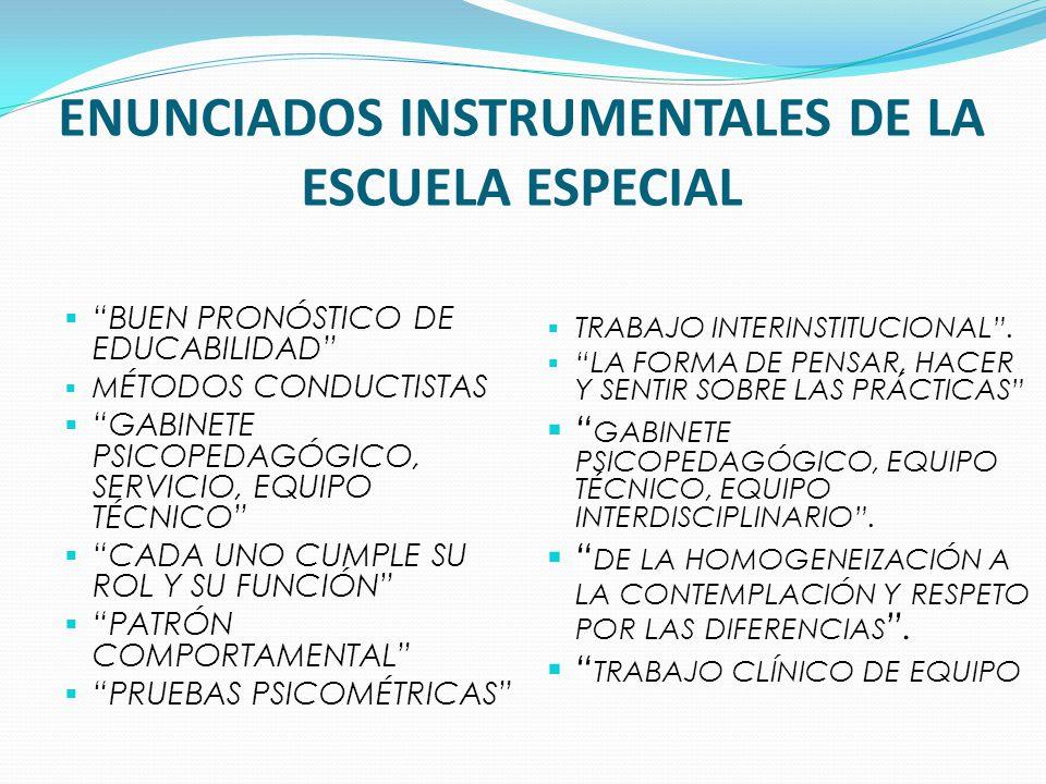 Enunciados instrumentales de la escuela especial