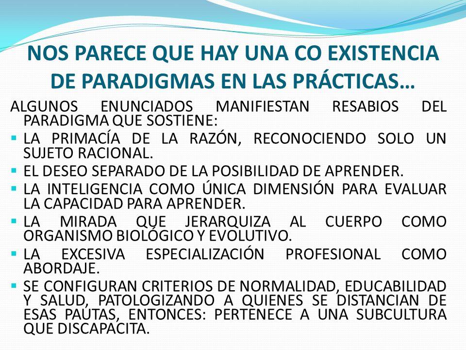 Nos parece que hay una co existencia de paradigmas en las prácticas…