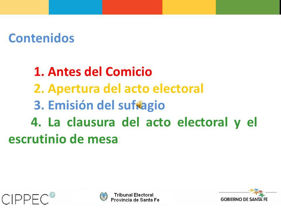 2. Apertura del acto electoral 3. Emisión del sufragio