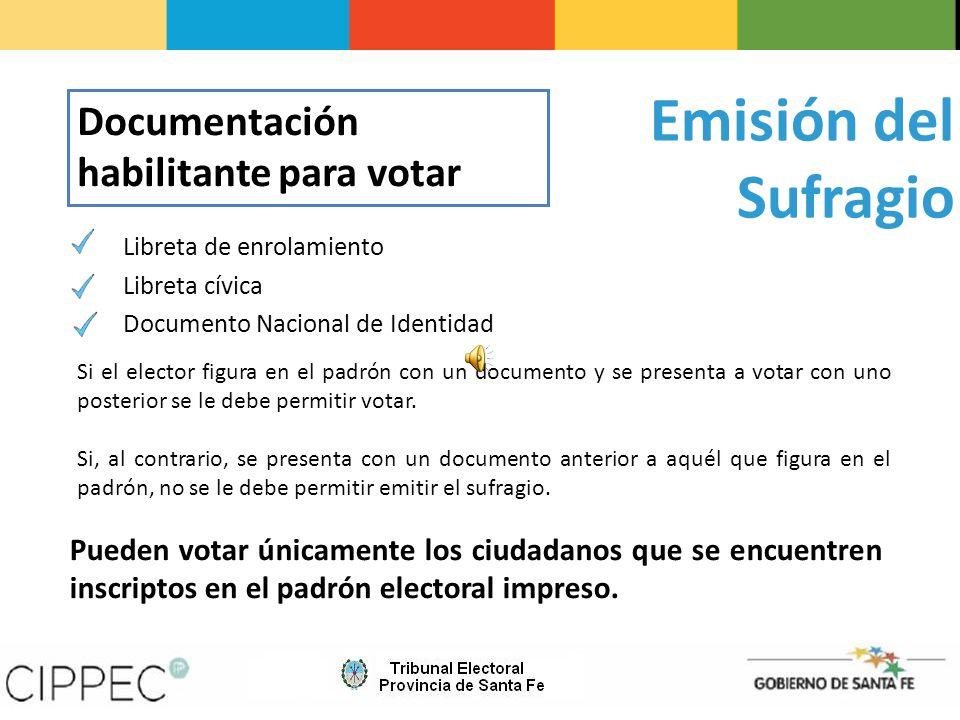 Emisión del Sufragio Documentación habilitante para votar