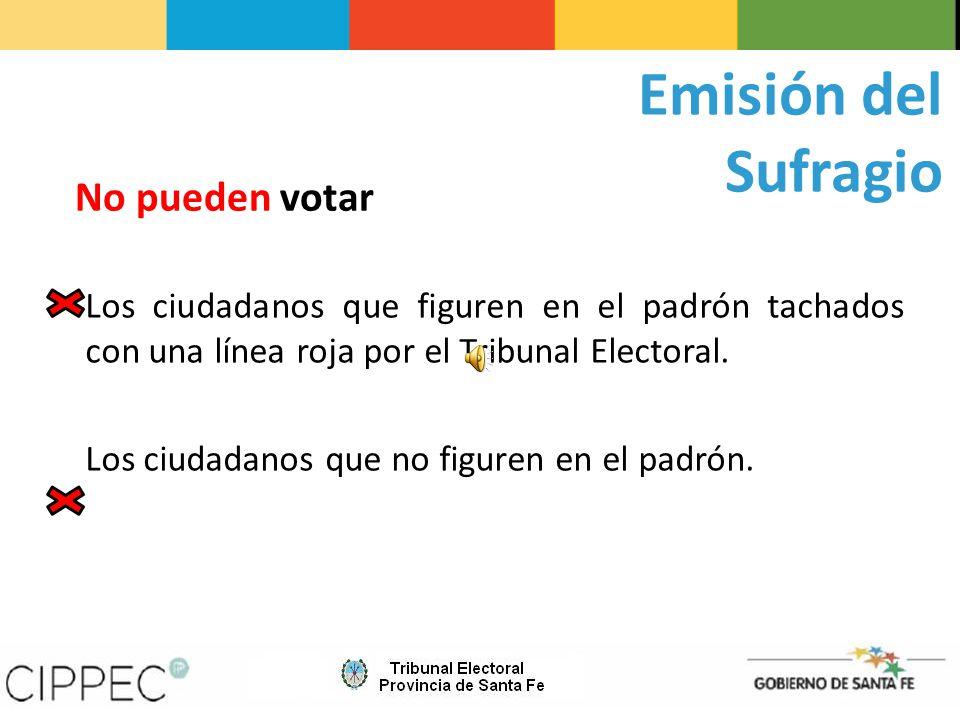 Emisión del Sufragio No pueden votar