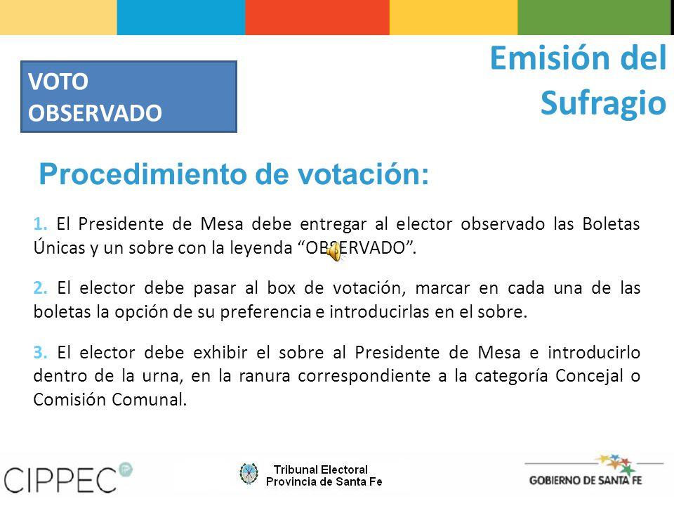 Emisión del Sufragio Procedimiento de votación: VOTO OBSERVADO