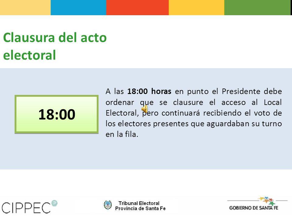 18:00 Clausura del acto electoral