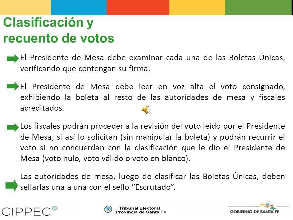 Clasificación y recuento de votos