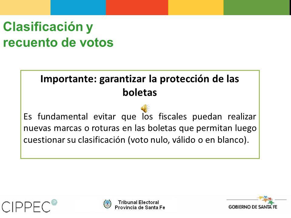 Importante: garantizar la protección de las boletas
