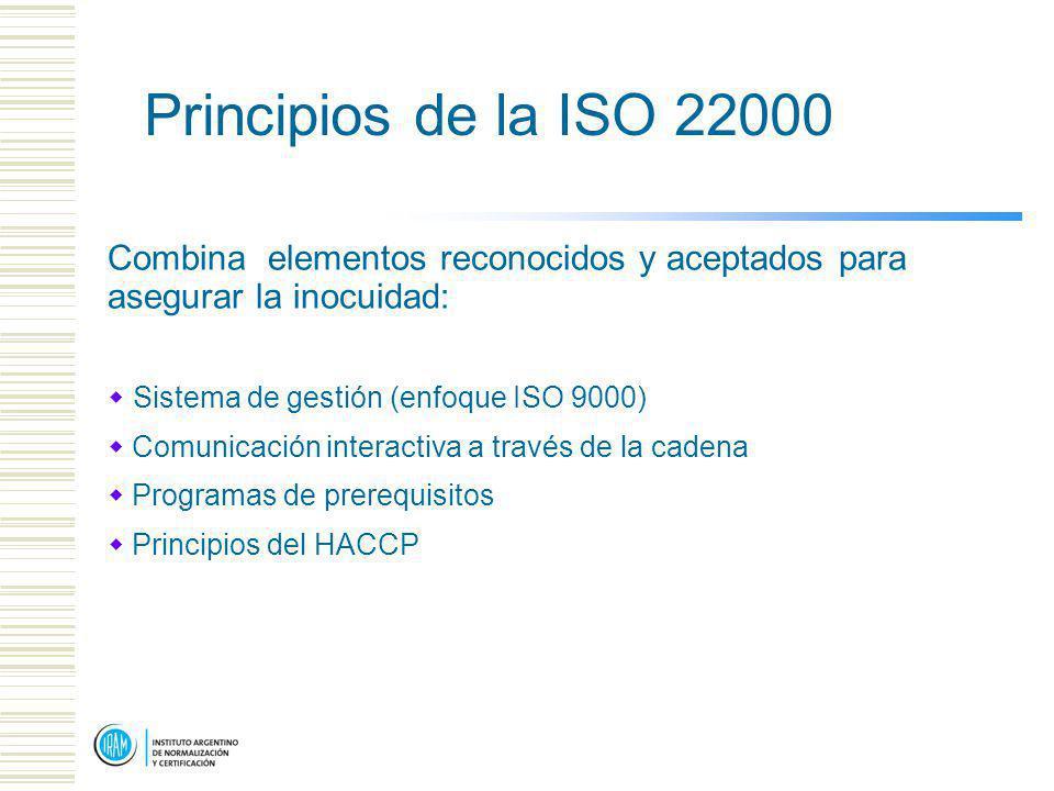 Principios de la ISO 22000 Combina elementos reconocidos y aceptados para asegurar la inocuidad: Sistema de gestión (enfoque ISO 9000)