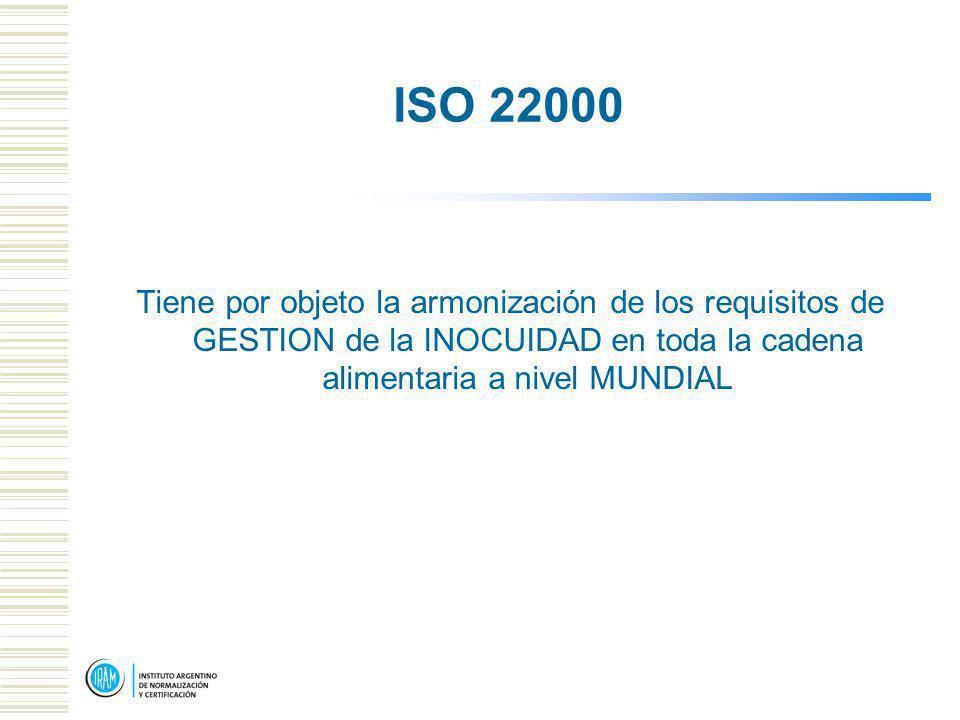 ISO 22000 Tiene por objeto la armonización de los requisitos de GESTION de la INOCUIDAD en toda la cadena alimentaria a nivel MUNDIAL.