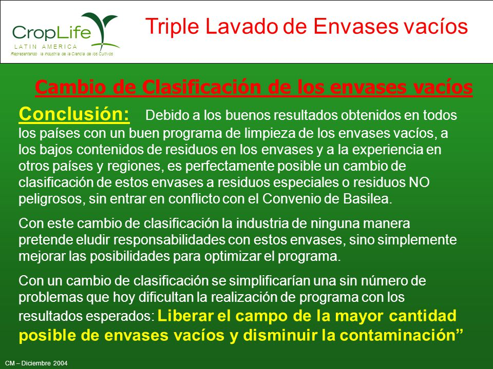 Cambio de Clasificación de los envases vacíos