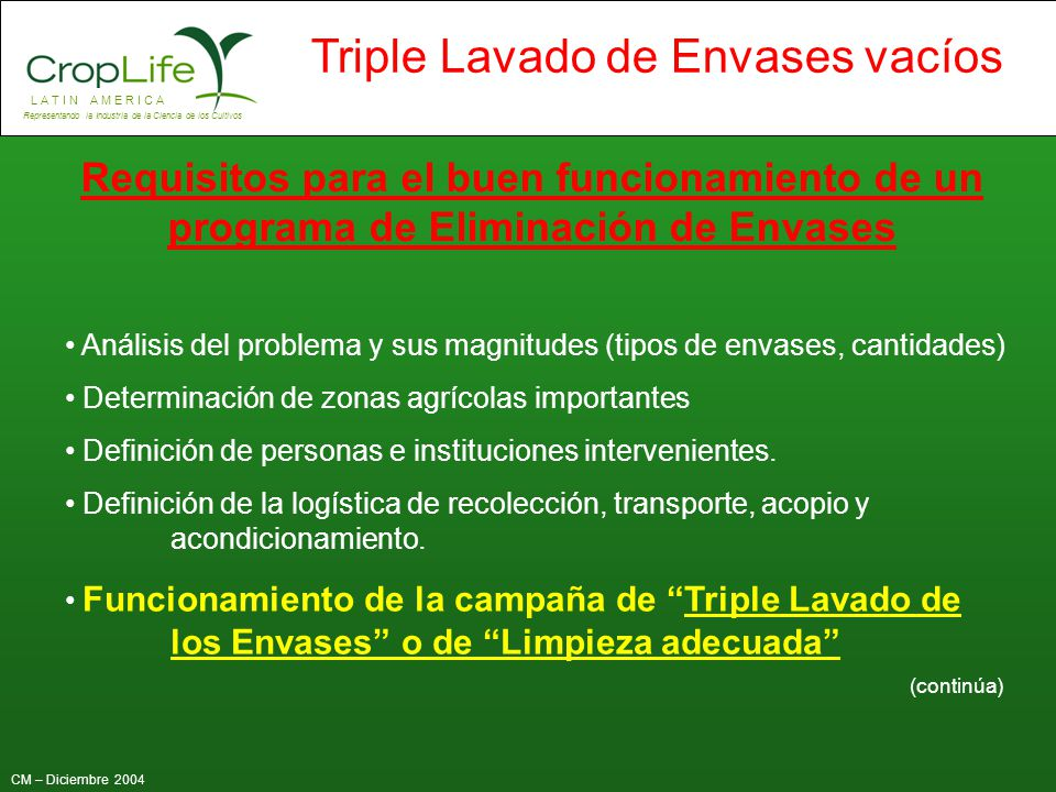 Requisitos para el buen funcionamiento de un programa de Eliminación de Envases