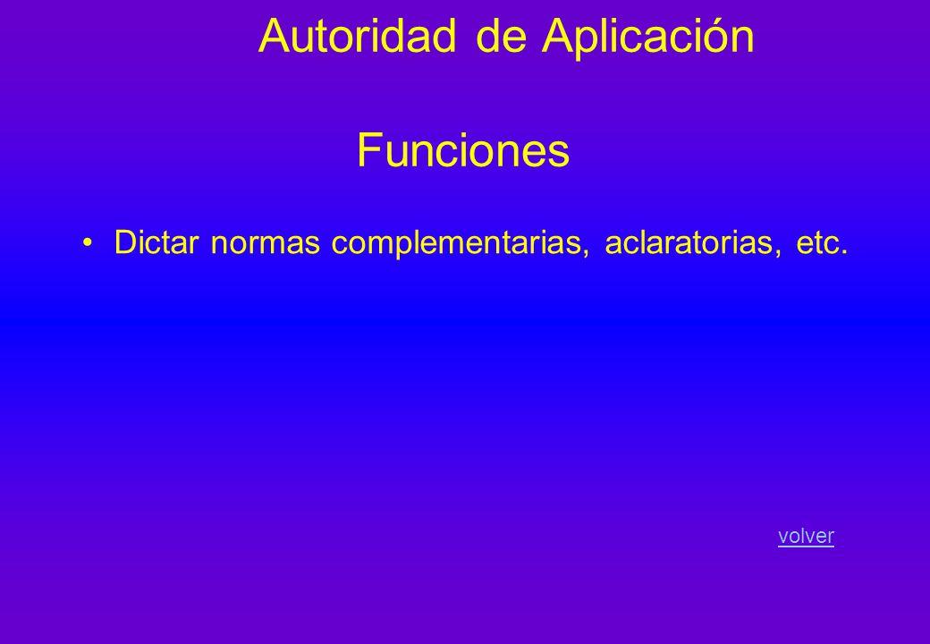 Autoridad de Aplicación Funciones