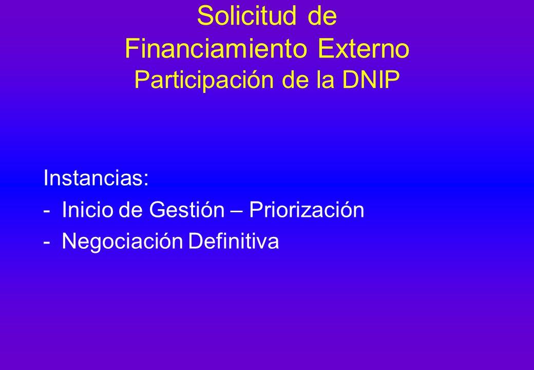 Solicitud de Financiamiento Externo Participación de la DNIP