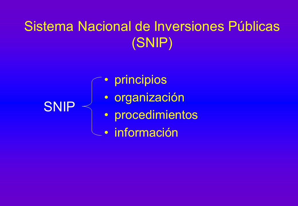 Sistema Nacional de Inversiones Públicas (SNIP)