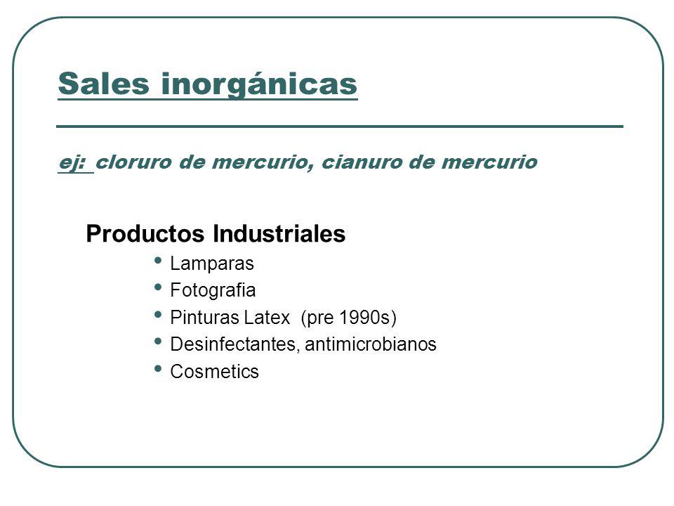 Sales inorgánicas ej: cloruro de mercurio, cianuro de mercurio