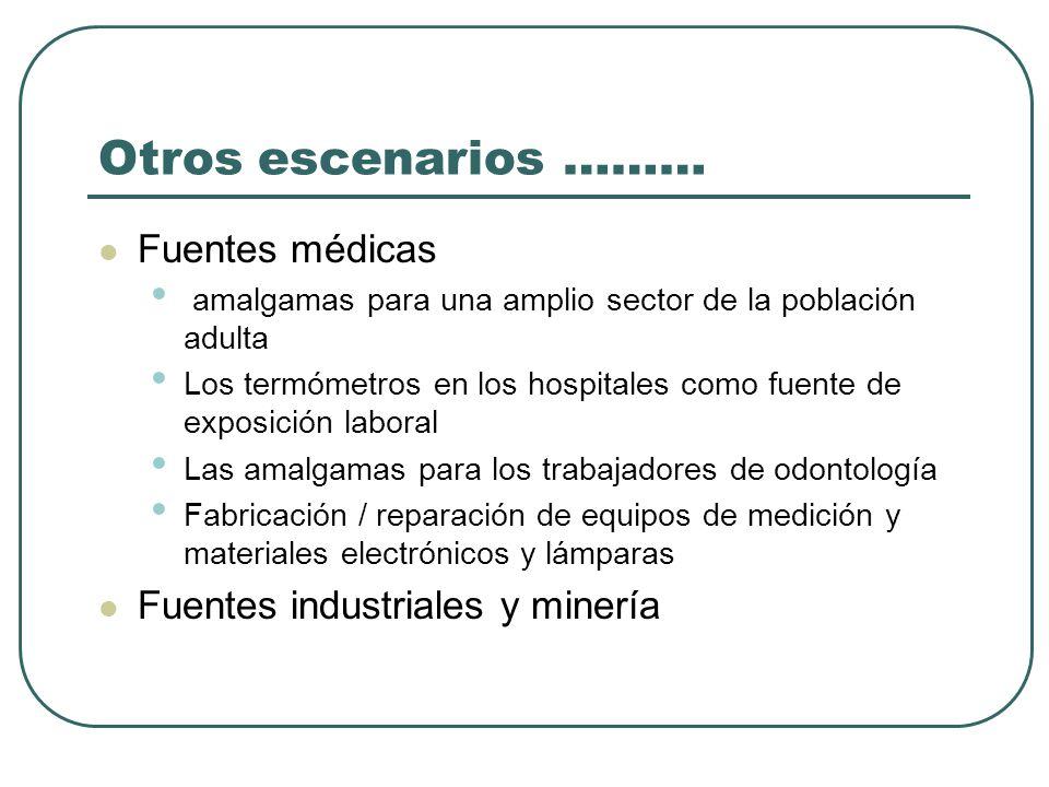 Otros escenarios ……… Fuentes médicas Fuentes industriales y minería