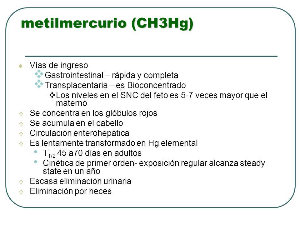 metilmercurio (CH3Hg) Vías de ingreso