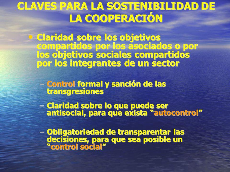 CLAVES PARA LA SOSTENIBILIDAD DE LA COOPERACIÓN